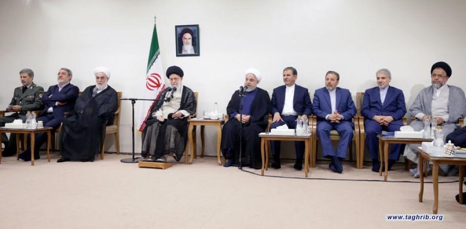 رهبر معظم انقلاب اسلامی در دیدار رئیسجمهور و اعضای هیئت دولت: دشمن هیچ غلطی نمیتواند بکند چهل سال دوم قطعاً بهتر خواهد بود + تصاویر